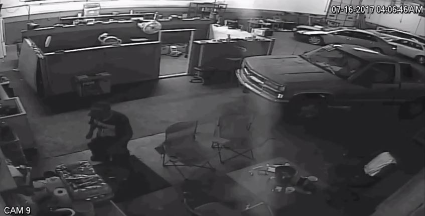 Surveillance video shows a serial burglar July 16 breaking into Award Motors, 24 W. Memorial. (Oklahoma City Police Department)