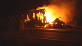 Intense semi truck fire melts trailer