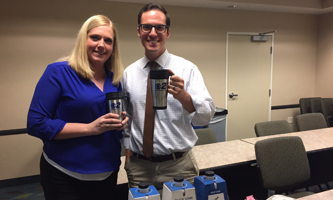 Mugshot Mondays: This week's winner is the Candlewood Suites in Meridian! Bryan Levin helped deliver free Dutch Bros. Coffee and KBOI mugs! Want your business to be next? Enter: http://bit.ly/1UoKo3X