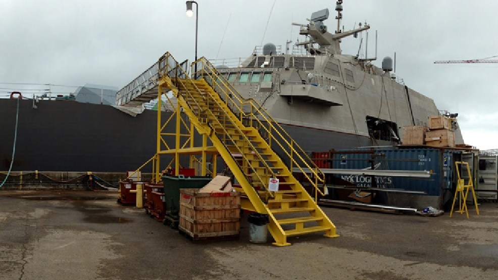 LCS 5, the future USS Milwaukee, is seen under construction at Marinette Marine, Aug. 19, 2014. (WLUK/Bill Miston)