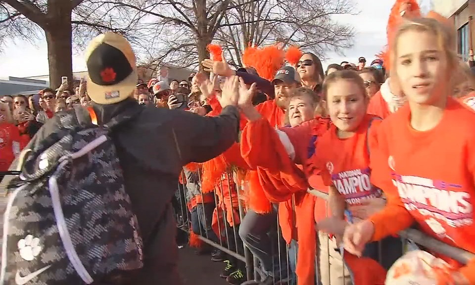 Clemson beat Alabama 35-31 in a rematch of last year's title game.  Thousands of fans waited Tuesday afternoon to welcome back the Tigers. Clemson won its last championship in 1981.  (Photo credit: WLOS staff)