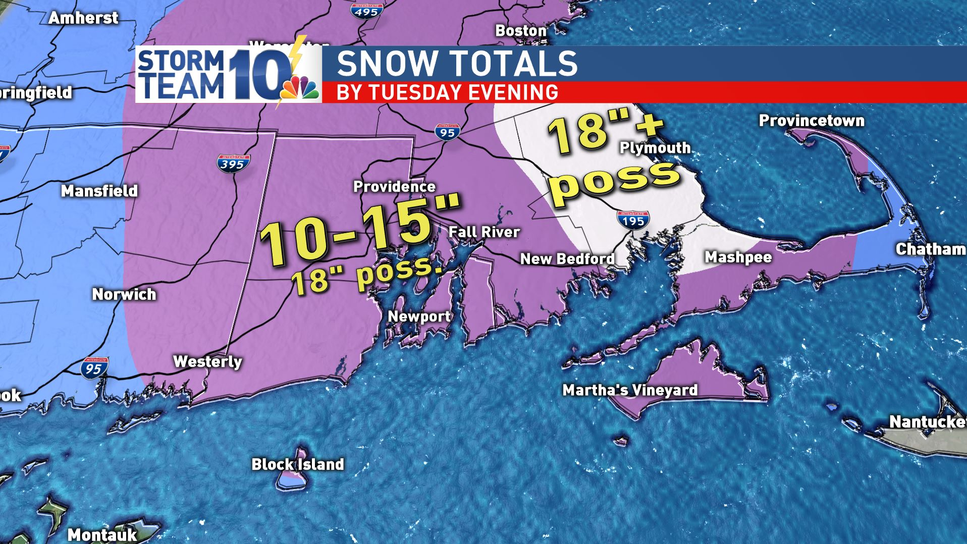 The current estimated snow totals for Tuesday's storm.<p></p>