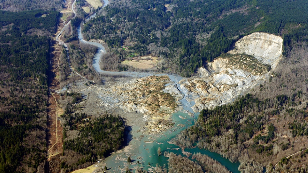 This aerial photo taken Monday, March 24, 2014 shows the massive mudslide near Arlington, Wash. (AP Photo/Ted S. Warren, File)