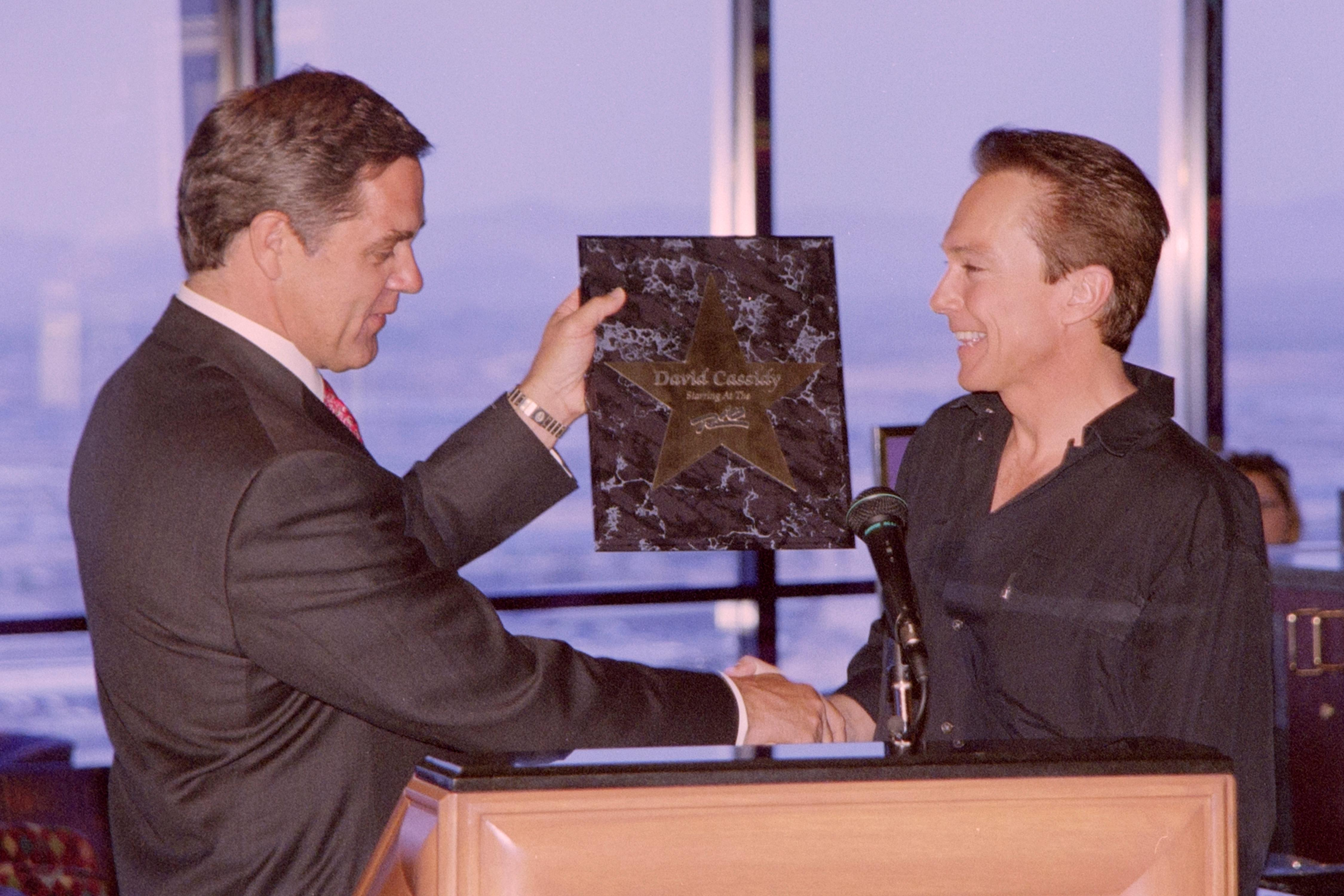 David Cassidy receives a star from the Rio during a news conference July 28, 1999, at the Rio in Las Vegas. [Glenn Pinkerton/Las Vegas News Bureau]