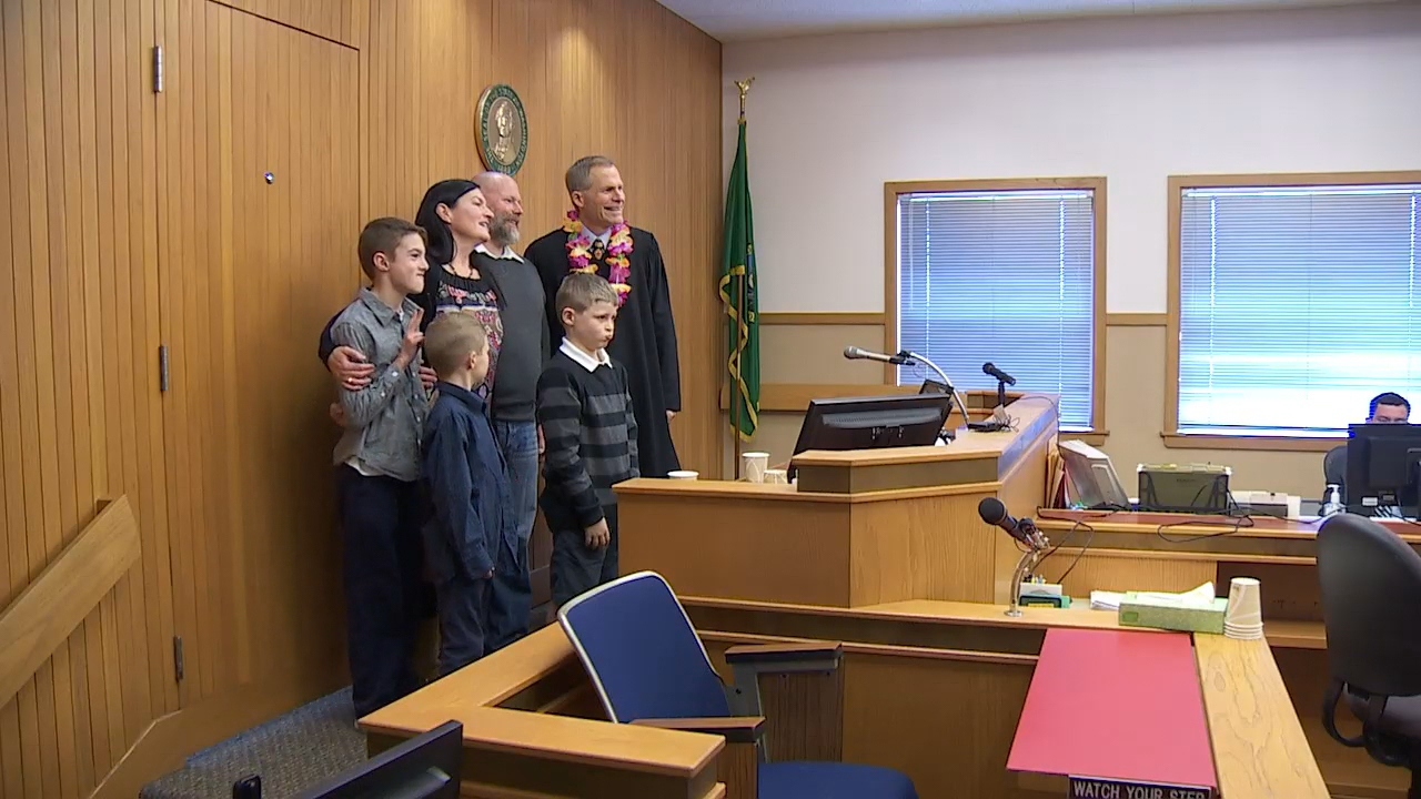 A total of 13 families adopted 16 kids on Friday in Snohomish County as part of National Adoption Day. (Photo: KOMO News)