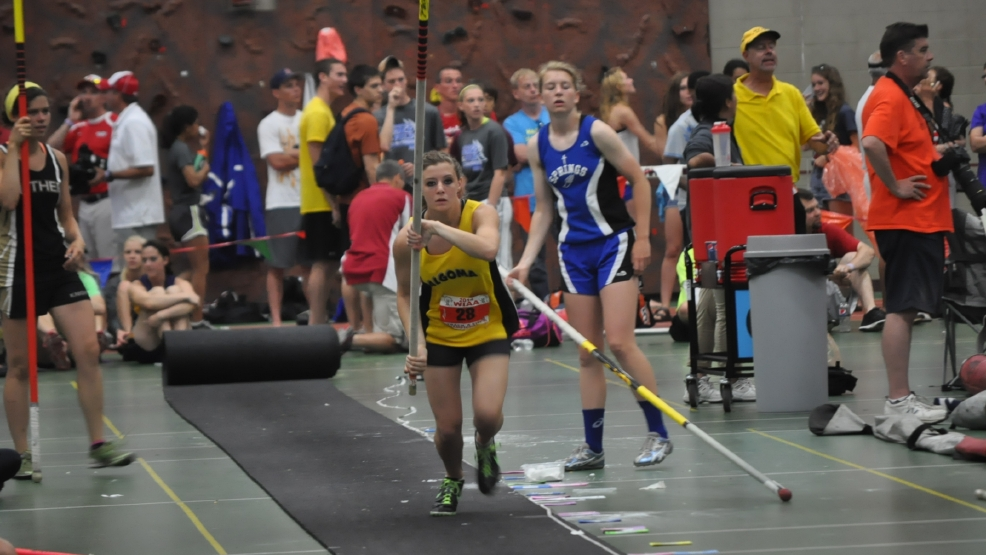 Algoma's Rachel Feuerstein placed third in the Division 3 pole vault at the state track and field meet Saturday. (Doug Ritchay/WLUK)