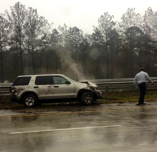 Wet roads is believed to be the cause of this single-vehicle accident on Interstate 65 South near mile marker 238 around noon Wednesday.
