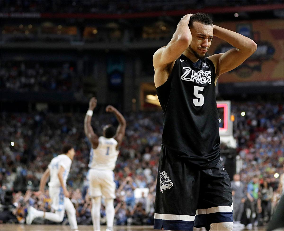 Gonzaga's Nigel Williams-Goss (5) reacts after the finals of the Final Four NCAA college basketball tournament against North Carolina, Monday, April 3, 2017, in Glendale, Ariz. North Carolina won 71-65. (AP Photo/Mark Humphrey)