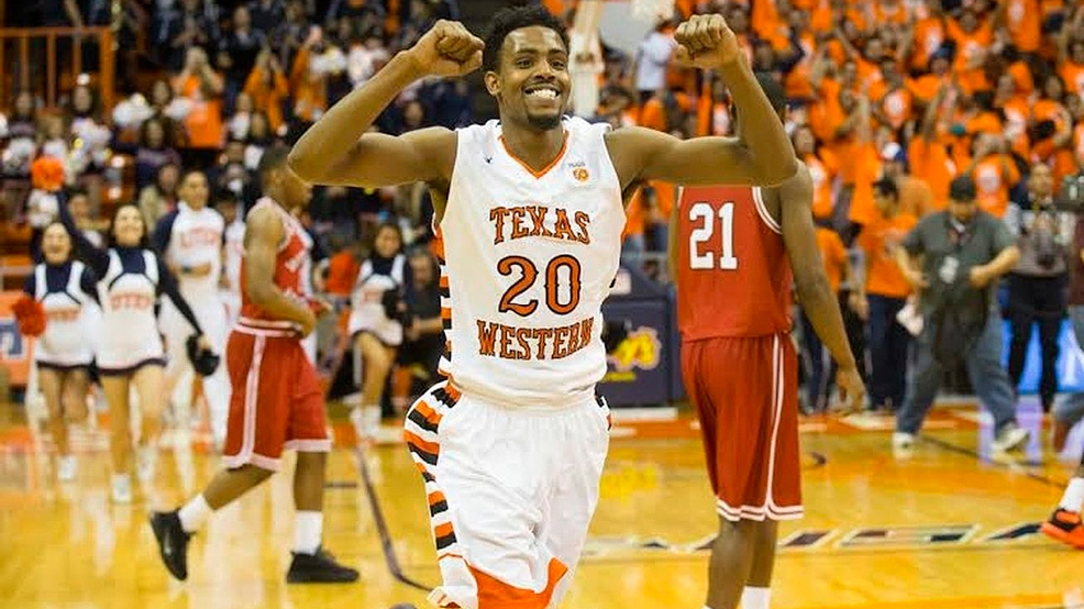 Earvin Morris and UTEP paid tribute to the 1966 NCAA men's basketball champions by wearing Texas Western throwbacks during the 2016 Conference USA Tournamen. (Photo courtesy UTEP Athletics)