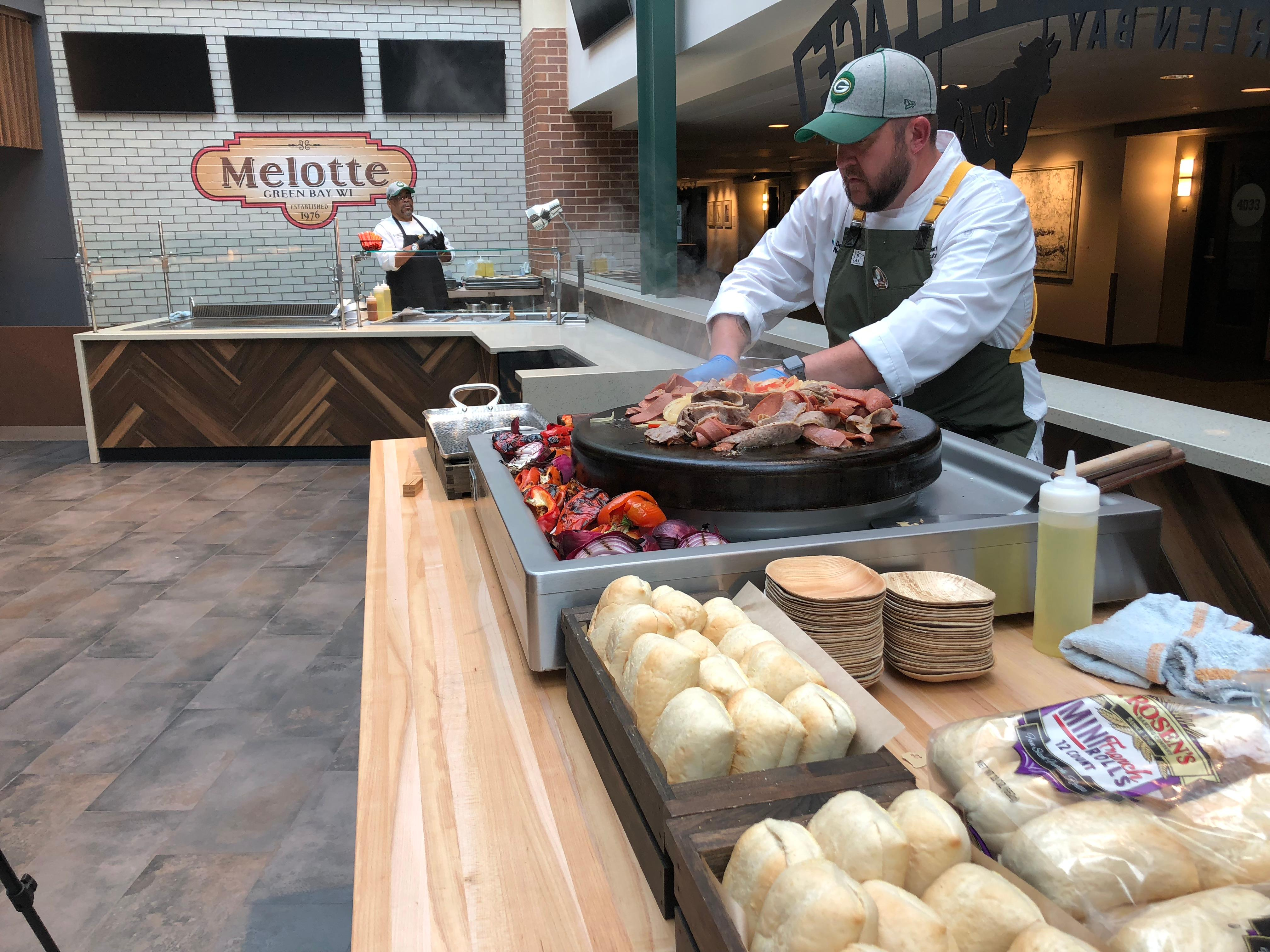 Lambeau Field Executive Chef Heath Barbato preparing new Packers game day food, September 10, 2019 (WLUK/Eric Peterson)