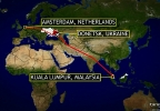 Flight path of Malaysia Airlines MH17 from Amsterdam.