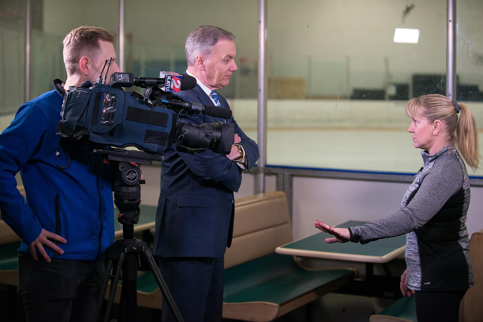 Figure Skating Champion and two-time Olympian Tonya Harding talks with KATU's Steve Dunn at the Mountain View Ice Arena about her thoughts on the recent film 'I, Tonya,' her life - past, present and future, and about how she channeled her rough past into a positive. Tonya also hints of a 'big announcement' in the near future. (KATU News/Tristan Fortsch taken 3-13-2018)