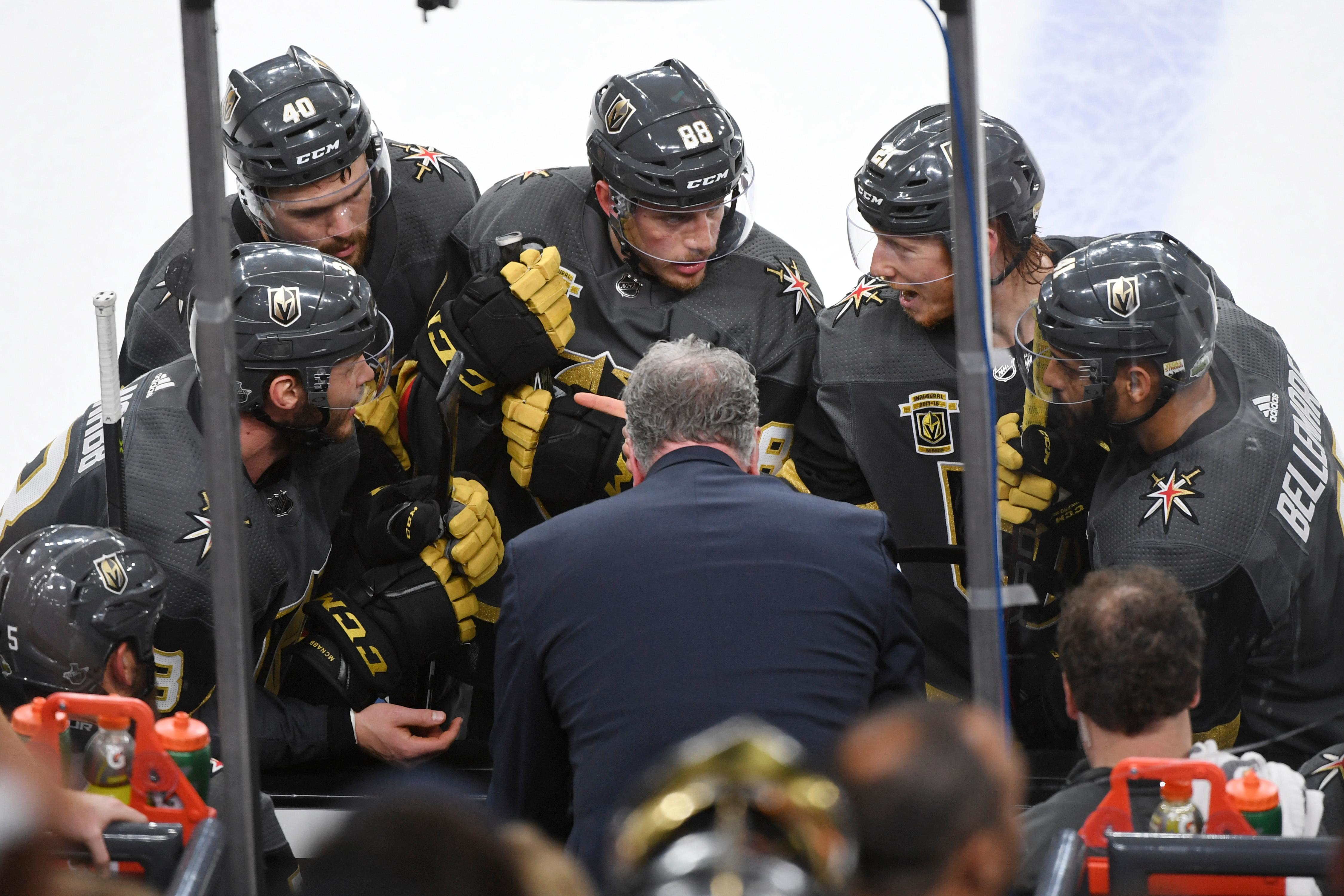 Vegas Golden Knights players huddle during a time out in the closing minutes of Game 4 of their NHL hockey Western Conference Final game against the Winnipeg Jets Friday, May 18, 2018, at T-Mobile Arena. The Golden Knights won 3-2. CREDIT: Sam Morris/Las Vegas News Bureau