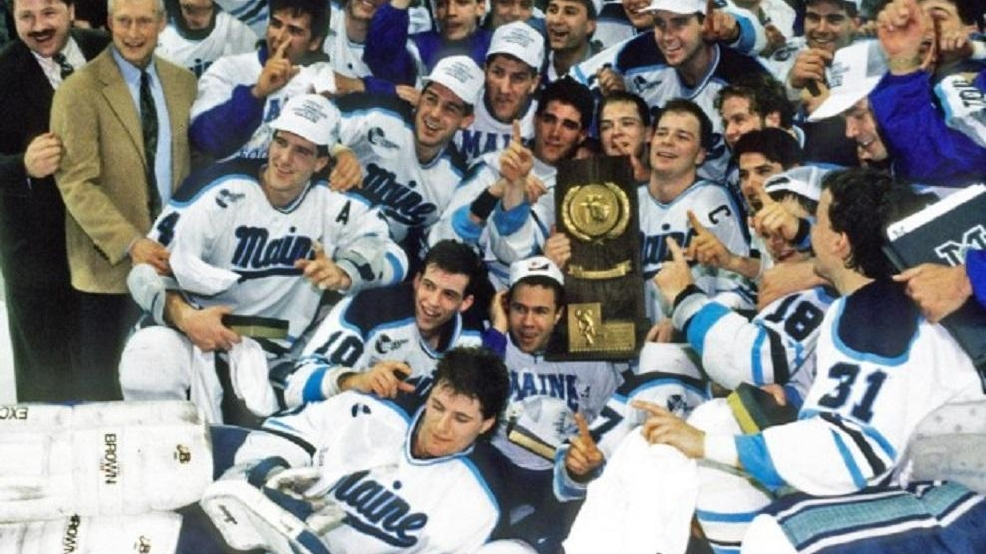 Maine celebrates its 1993 NCAA championship, the first in school history. (Courtesy University of Maine Archives)