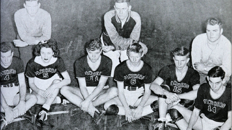 Nancy Isenhour, second from left in the front row, and the High Point men's basketball teammates in 1945. (Courtesy Stanly County Museum)
