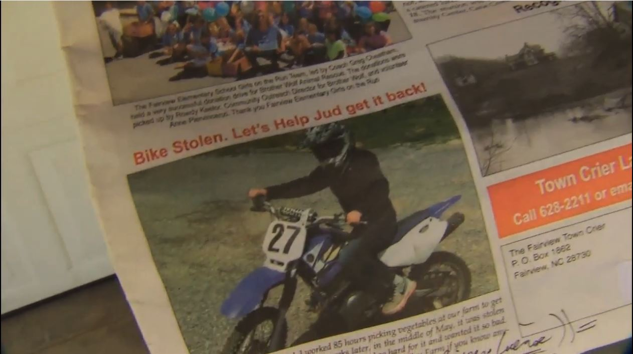 The local newspaper picked up the story and did a front-page article. (Photo credit: WLOS staff)