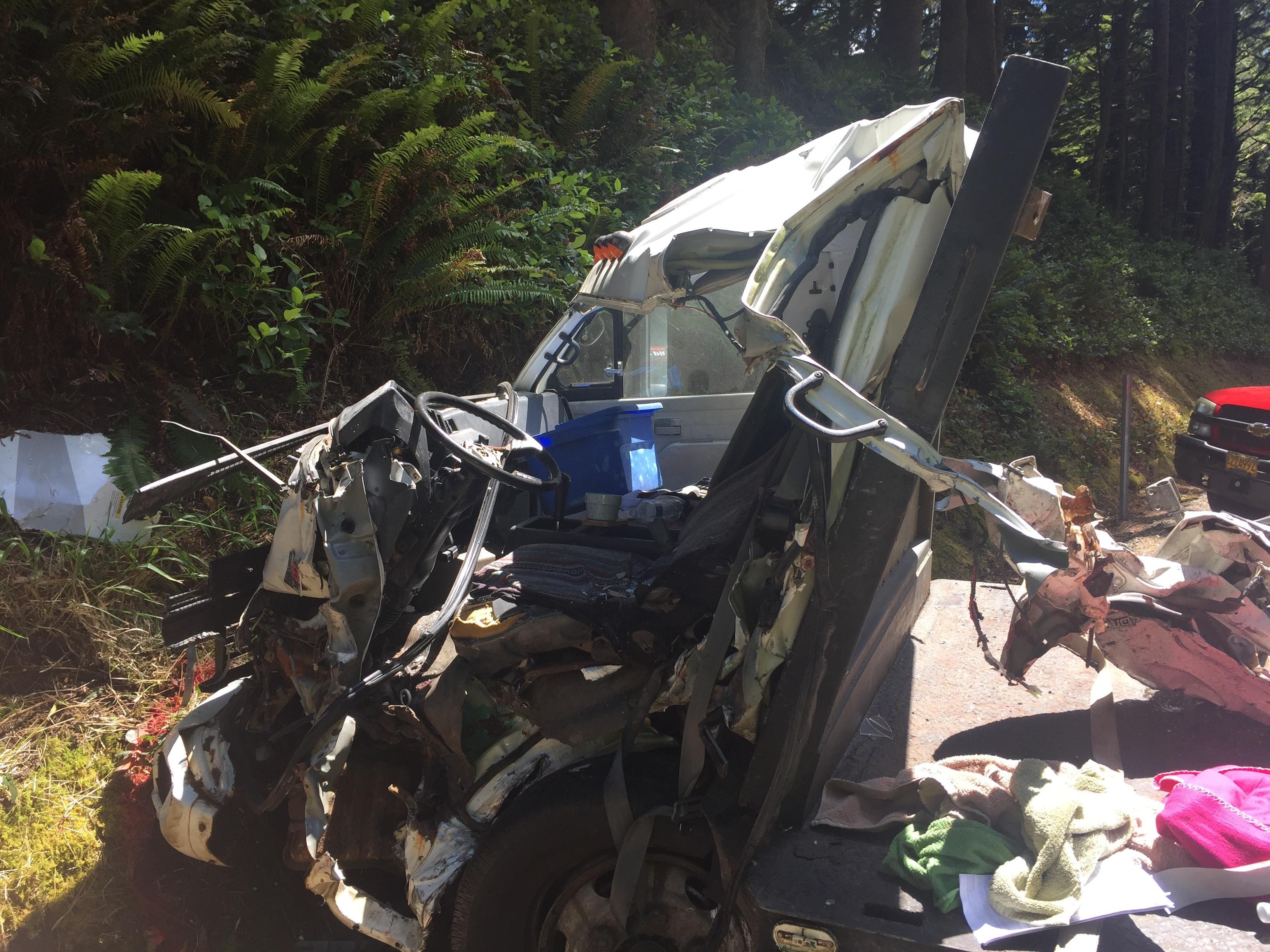 State police said a commercial truck collided with a RV trailer being towed behind a truck. A third vehicle was also involved. (Siuslaw Valley Fire & Rescue)