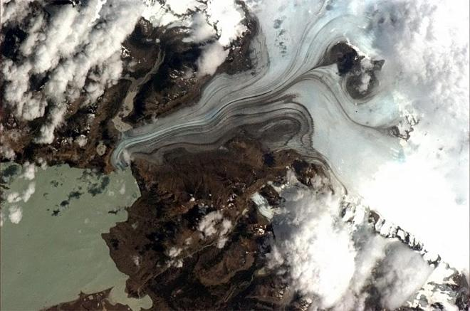 Patagonia glacier - thousands of years of climate history, coldly moving in ultra slow motion. (Photo & Caption: Chris Hadfield/NASA)