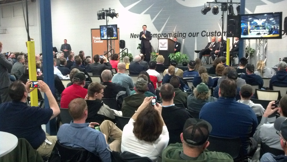 Gov. Scott Walker speaks at Amerequip in Kiel on Tuesday, April 29, 2014. (WLUK/Andrew LaCombe)