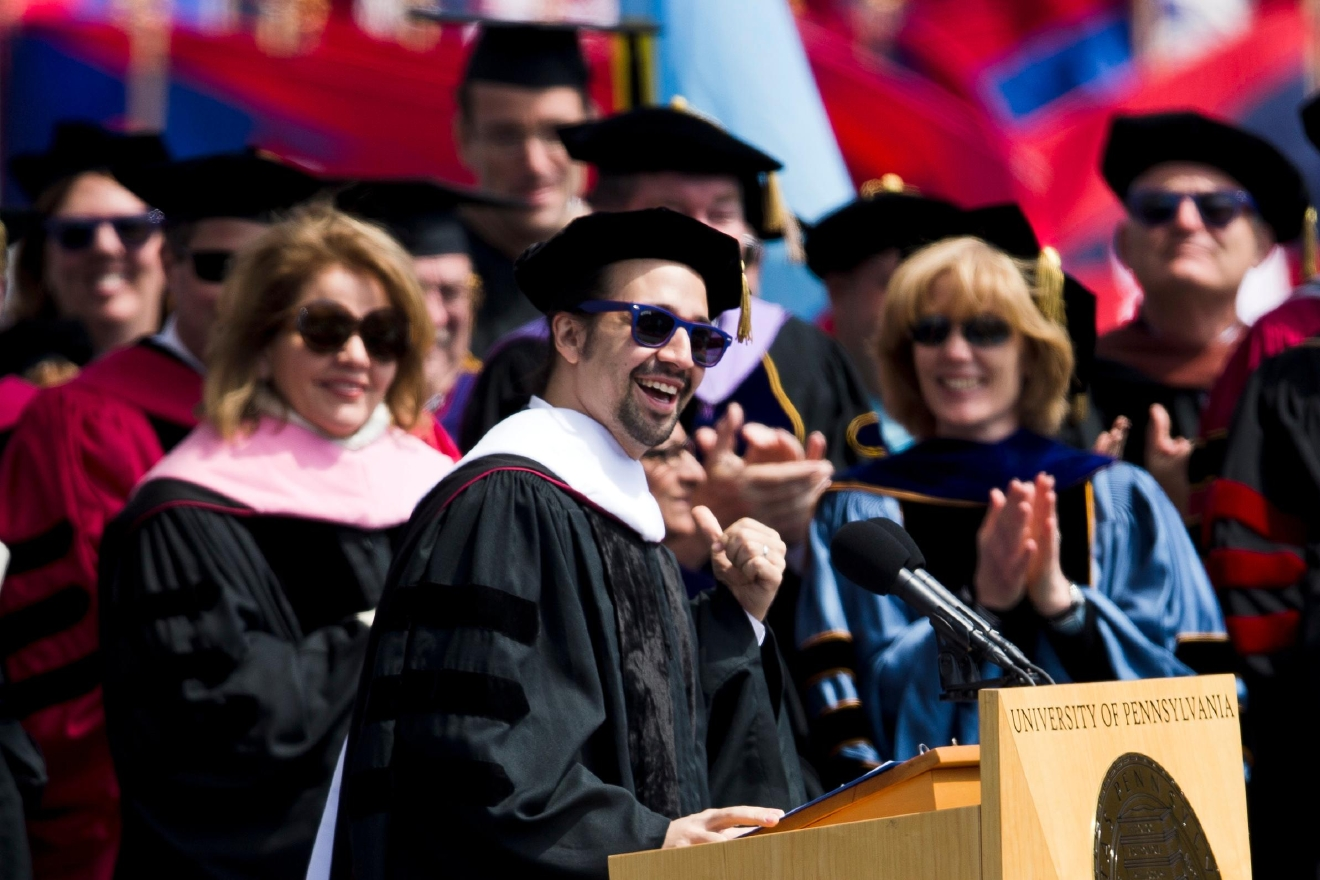 "Lin-Manuel Miranda, creator of the Broadway musical ""Hamilton,"" speaks during the University of Pennsylvania commencement ceremony, Monday, May 16, 2016, in Philadelphia. (AP Photo/Matt Rourke)"