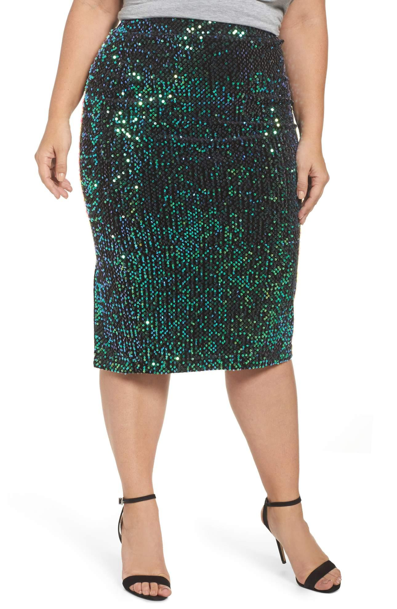 <p>Sequin Pencil Skirt - $74. Opulent shine and texture go around the clock via this curve-skimming skirt blanketed with sequins for a rich, jewel-like shimmer. This color is so festive and perfect for bringing in the New Year! (Image: Nordstrom){&amp;nbsp;}</p><p></p>