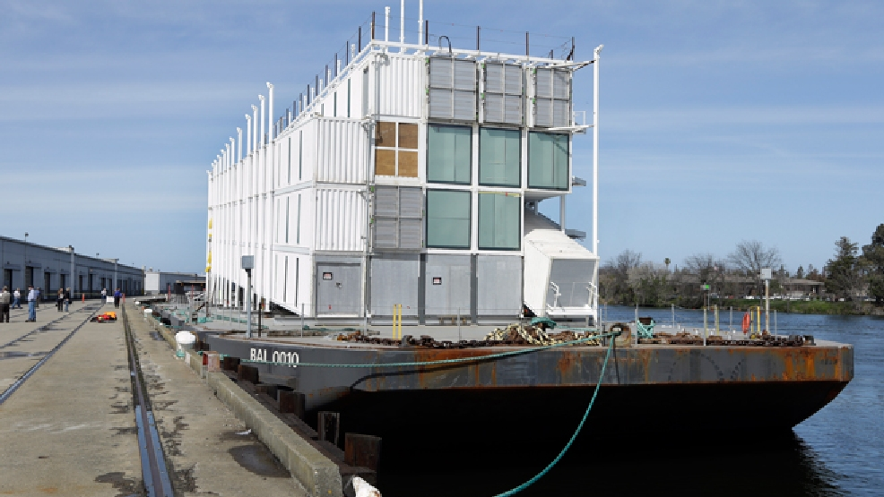 The Google barge is seen moored at the Port of Stockton Thursday, March 6, 2014, in Stockton, Calif. (AP Photo/Ben Margot)
