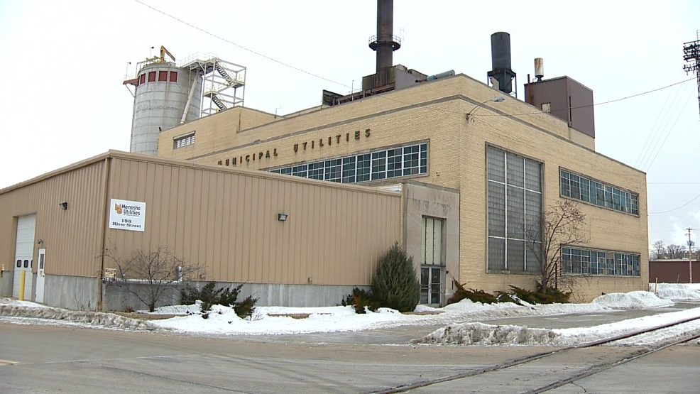 Menasha's River Street Power Plant is seen, Feb. 28, 2014. (WLUK/Alex Ronallo)