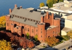 The Armory and Gymnasium (Red Gym) is pictured in an aerial view of the University of Wisconsin-Madison campus during autumn on Oct. 5, 2011. In the background is Lake Mendota. (UW-Madison photo/Bryce Richter)