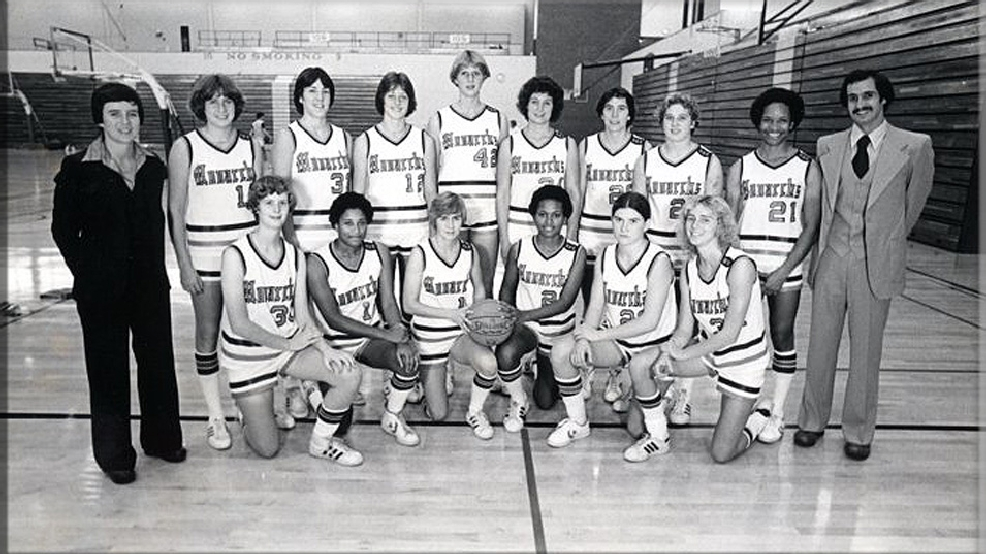 The 1978-79 Old Dominion women's basketball team. Kneeling: Sue Brown, Sandy Burke, Debbie Richard, Sue Davy, Beth Campbell, Fran Clemente. Standing: Coach Marianne Stanley, Nancy Lieberman, Jan Trombly, Sue Richardson, Inge Nissen, Linda Jerome, Chris Critelli, Rhonda Rompola, Angela Cotman, Assistant Jerry Busone. (Courtesy Old Dominion University Archives)