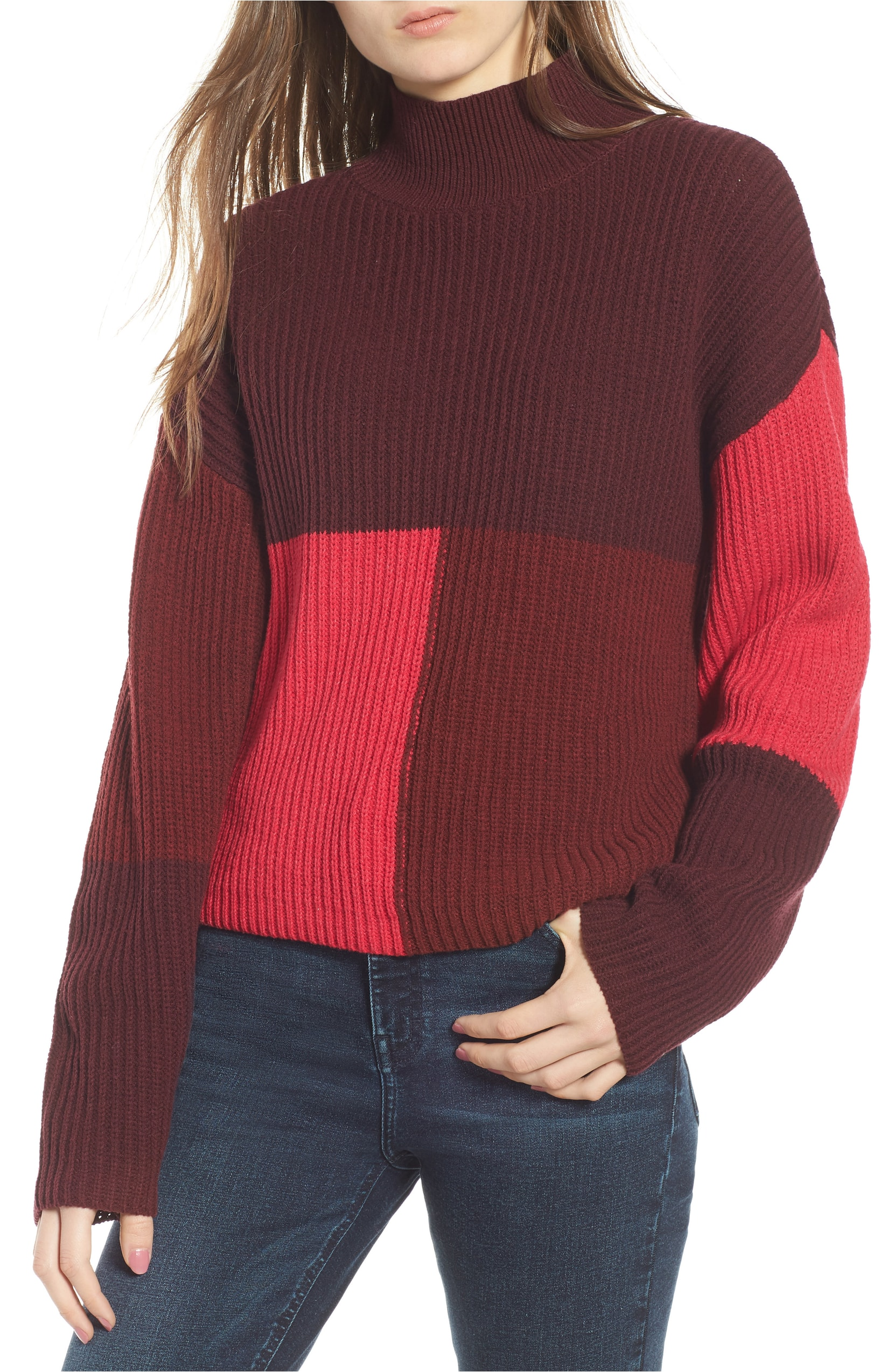 Mock Neck Colorblock Sweater. Sale:$31.90 / After Sale:$49.00. (Image: Nordstrom){ }