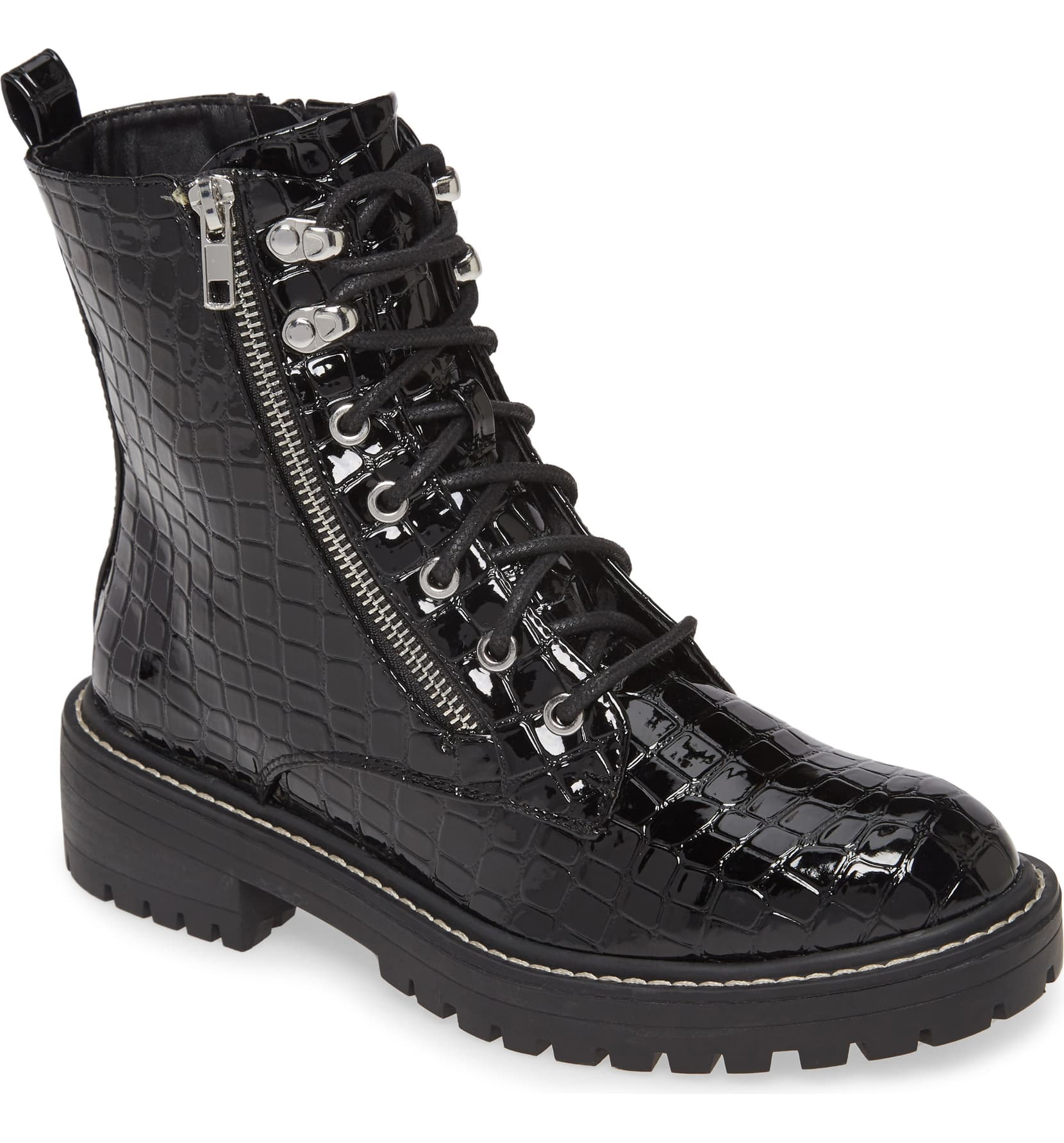 "<p>A glossy finish highlights the allover croc embossing of this rocker-chic lace-up boot. <a  href=""https://shop.nordstrom.com/s/topshop-kiki-combat-boot-women/5501270/full?origin=category-personalizedsort&breadcrumb=Home%2FWomen%2FTopshop%20%26%20Trend&color=black"" target=""_blank"" title=""https://shop.nordstrom.com/s/topshop-kiki-combat-boot-women/5501270/full?origin=category-personalizedsort&breadcrumb=Home%2FWomen%2FTopshop%20%26%20Trend&color=black"">Shop it{&nbsp;}</a>- $80. (Image: Nordstrom){&nbsp;}</p>"