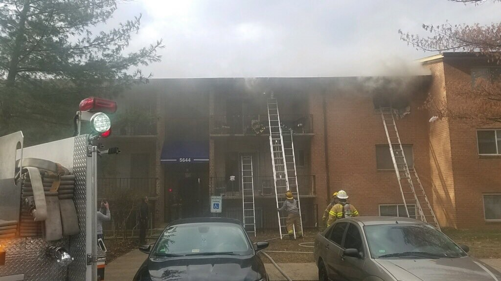 Firefighters are on the scene of a fire at an apartment building in Lanham, Md.  Thursday, Dec. 14, 2017 (Photo courtesy of the Kentland Volunteer Fire Department)