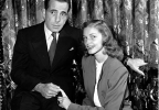 This May 1945 file photo shows actor Humphrey Bogart, left, with his wife actress Lauren Bacall. Bacall, the sultry-voiced actress and Humphrey Bogart's partner off and on the screen, died Tuesday, Aug. 12, 2014 in New York. She was 89. (AP Photo, File)