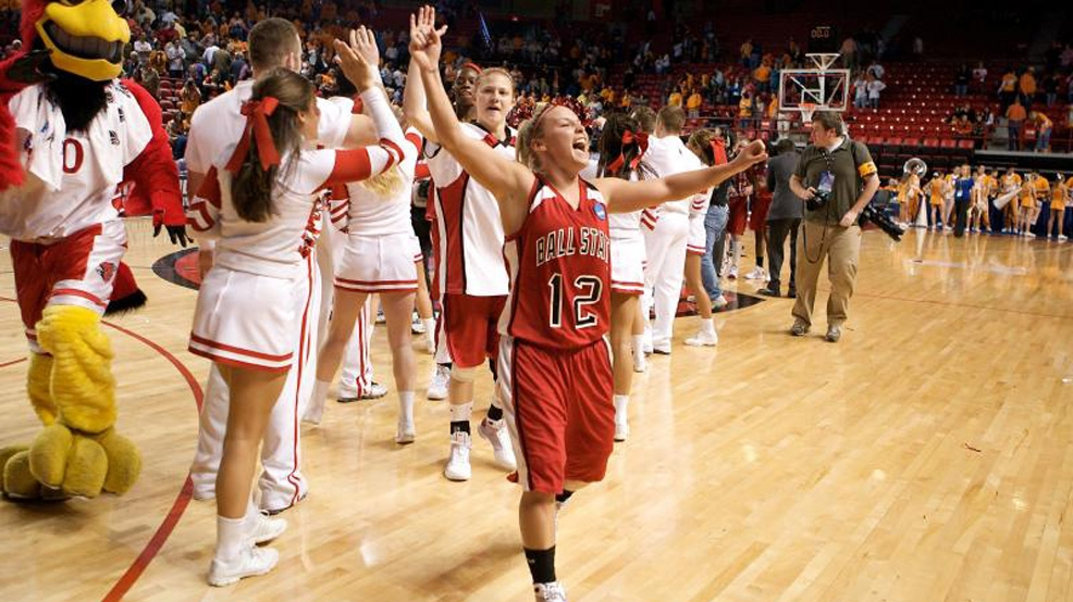 Ball State celebrates its victory against Tennessee in the 2009 NCAA Women's Basketball Tournament. (Courtesy Michael Hickey/BSU Photo Services)