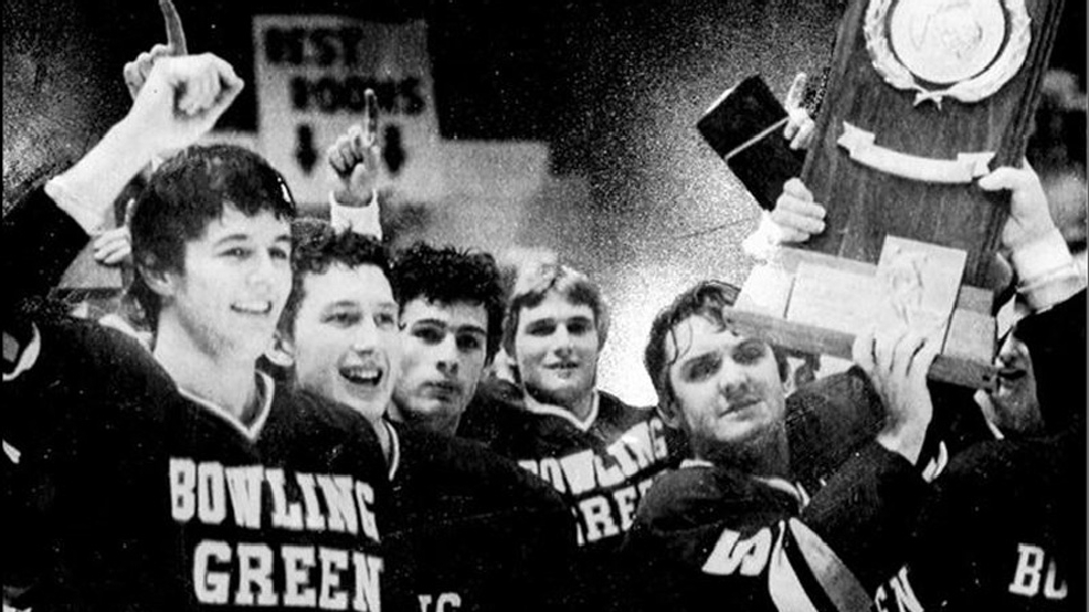 Bowling Green celebrates its 1984 NCAA men's hockey championship. (Courtesy BGSU Athletics)