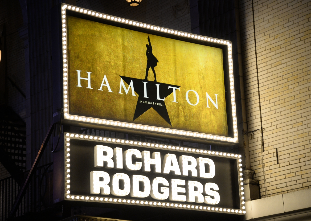 "The ""Hamilton"" marquee at the Richard Rogers Theatre on Saturday, July 9, 2016, in New York. (Photo by Evan Agostini/Invision/AP)"