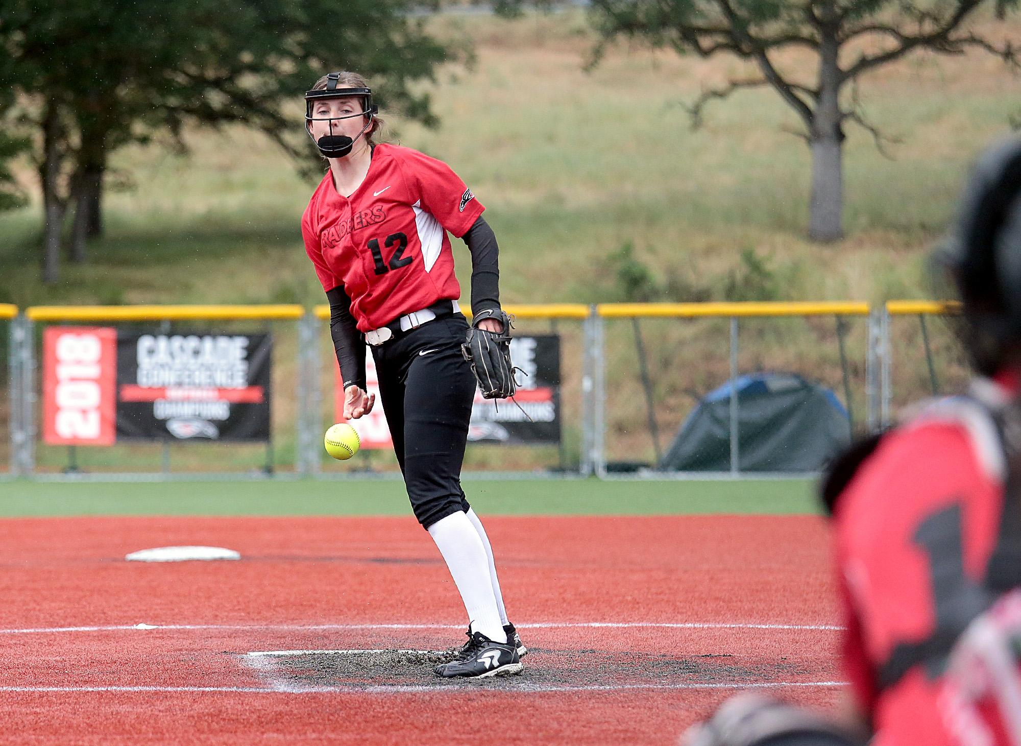 Southern Oregon University freshman Allie Hancock started in the circle for the second game against St. Francis at US Cellular Community Park on Wednesday.[PHOTO BY:  LARRY STAUTH JR]