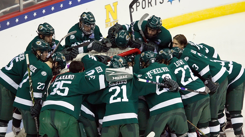 Bemidji State huddles before the start of their game against Miami (Ohio) in the Frozen Four at the Verizon Center in Washington, D.C., Thursday, April 9, 2009. (Photo by Harry E. Walker/MCT/MCT via Getty Images)
