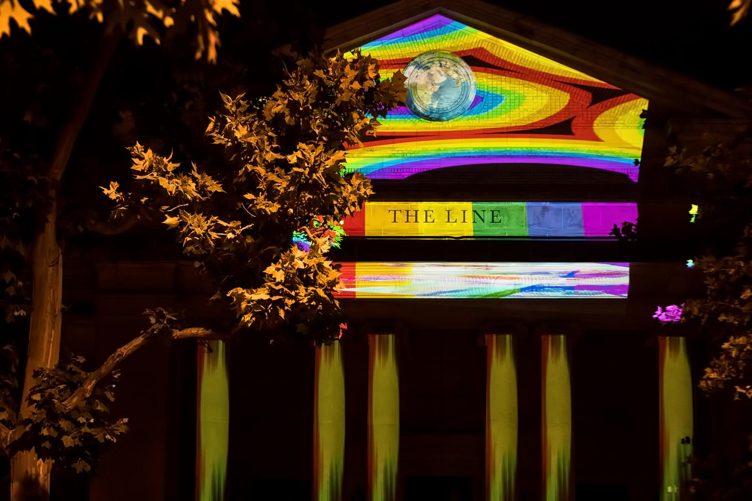 Just as they did last year, LINE DC will be working with artist Robin Bell to light up the exterior of the hotel with rainbow projections, but new to the Pride celebrations will be a free yoga class at 6 p.m. on Friday at the Adams Morgan Community Center, led by Simone Jacobson. (Image: Courtesy LINE DC)