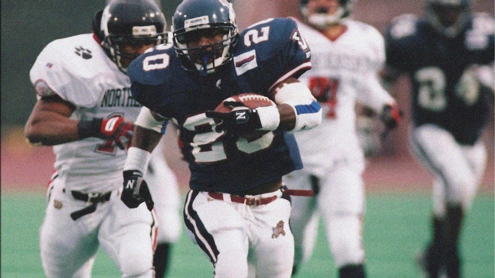 Brian Westbrook, a two-time CAA offensive player of the year, was the 2001 recipient of the Walter Payton Award as the top player in NCAA Division I-AA. (Photos courtesy of Villanova University Athletics)
