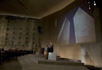 "As the twin towers are displayed behind him, President Barack Obama speaks at the National September 11 Memorial Museum, Thursday, May 15, 2014, in New York. Speaking at the dedication, the president said, no act of terror can match the strength and character of the United States. He says, quote, ""Nothing can ever break us."" (AP Photo/Carolyn Kaster)"