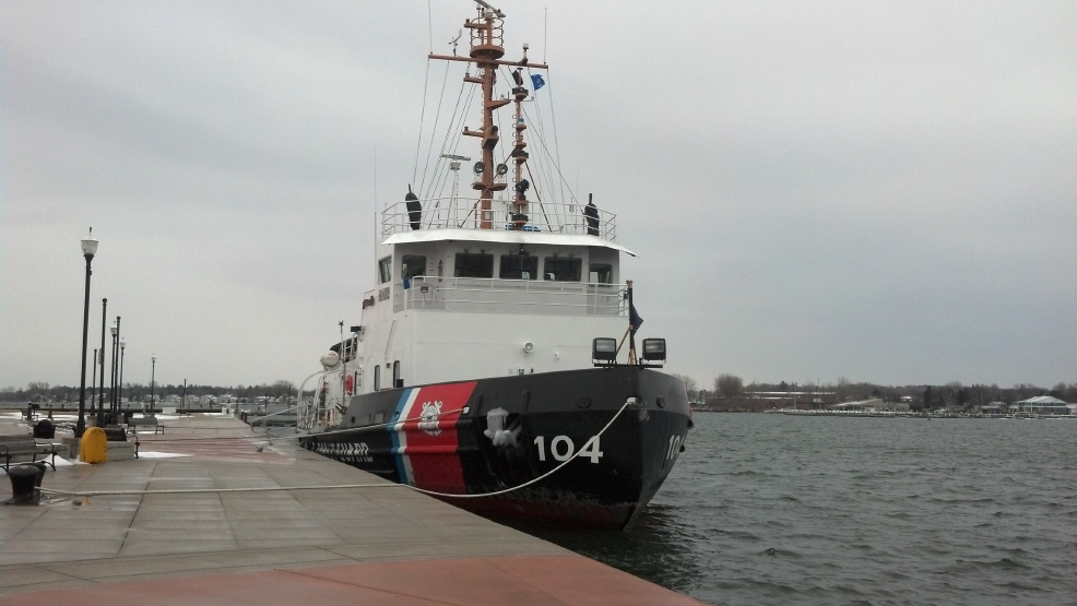 The U.S. Coast Guard Cutter Biscayne Bay prepares for icebreaking near Sturgeon Bay
