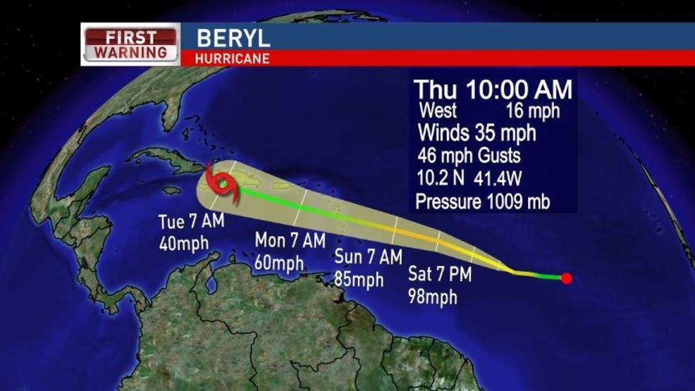hurricane beryl is the first hurricane of the 2018 season wear