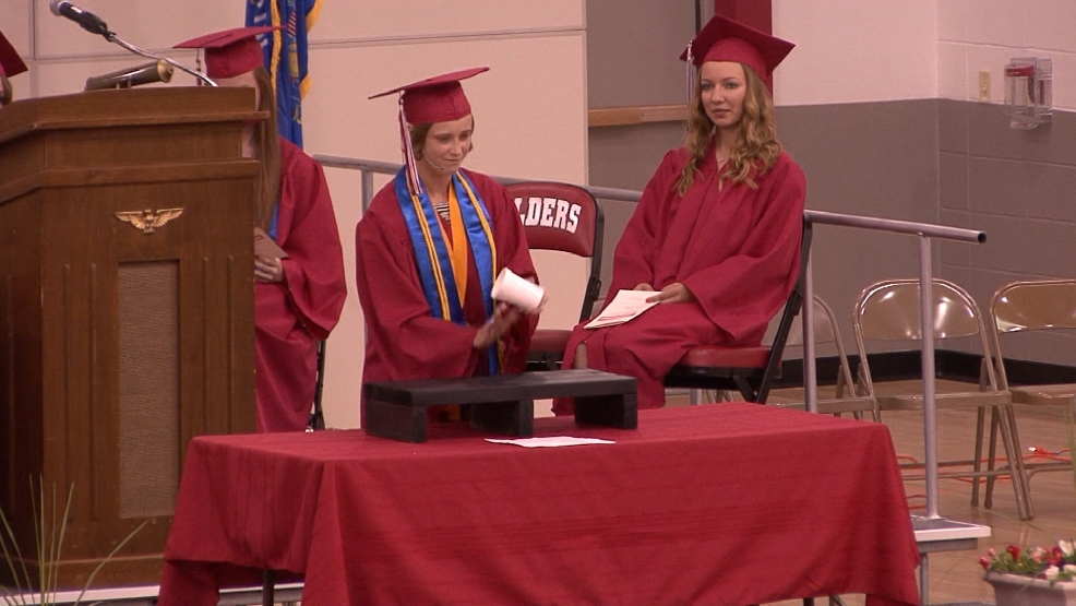 Angela Brandl during her graduation at Valders High School. (Courtesy: Chris Fahley, Valders PEG TV)
