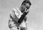 In this July 4, 1939, file photo, New York Yankees' Lou Gehrig wipes away a tear while speaking during a tribute at Yankee Stadium in New York. Gehrig passed away on June 2, 1941 at the age of 37. (AP Photo/Murray Becker, File)