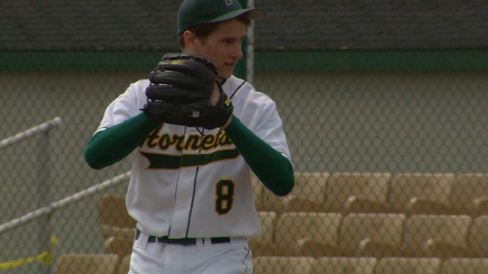 Cameron Sternberg of Green Bay Preble delivers a pitch against Pulaski.