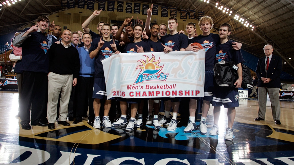 Belmont celebrates its first Division I conference tournament championship in 2006. (Courtesy Belmont Athletics)