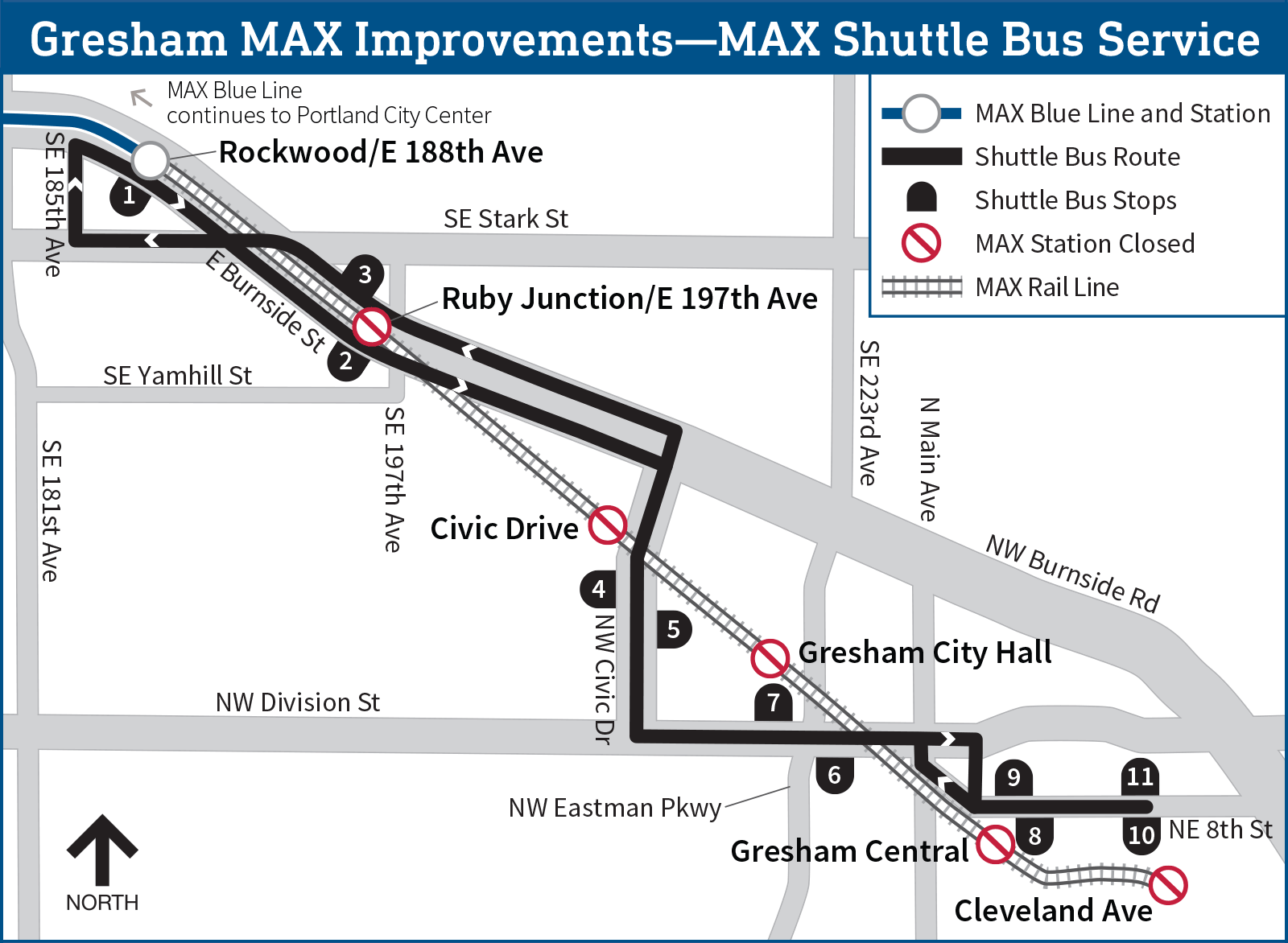 Map shows how a shuttle bus will serve a part of Gresham while TriMet makes improvements on the MAX Blue Line. Map courtesy TriMet