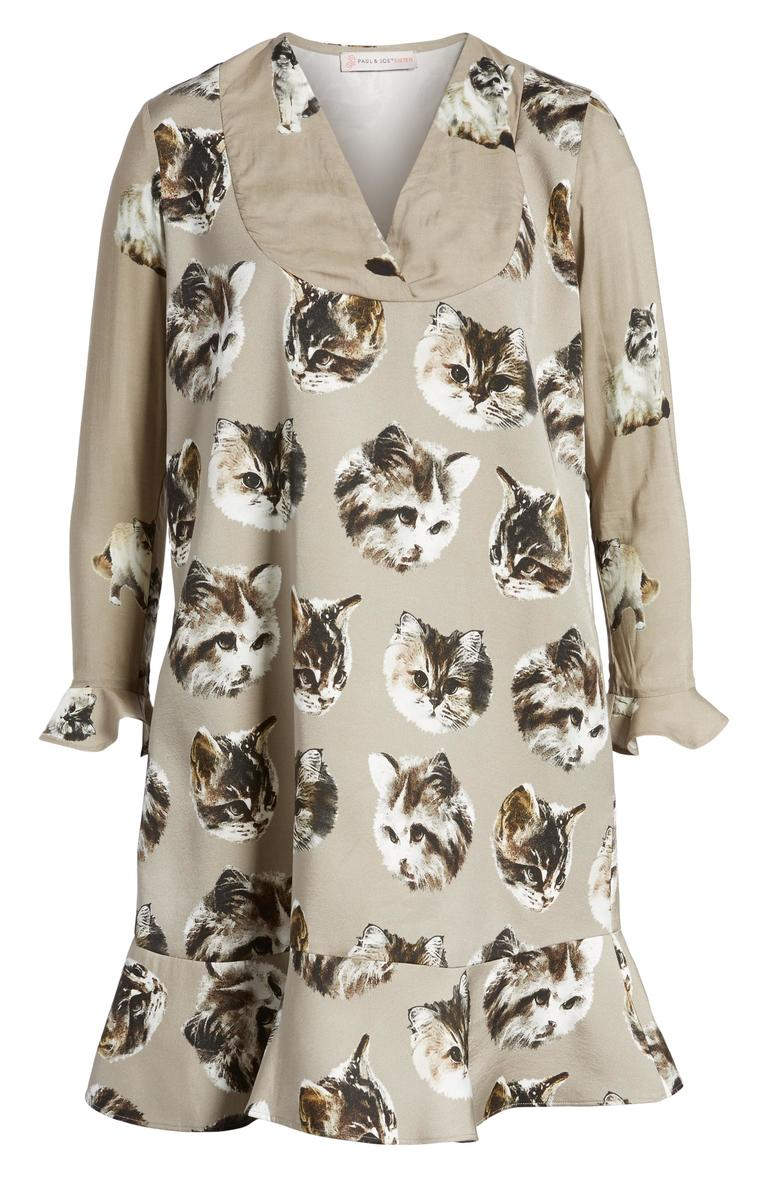 Cat ladies: treat yourself to a stylish and comfortable dress with a print of feline faces covering it. The dress comes in two colors: Taupe and Rose Pale.{ } (Image: Courtesy Nordstrom)