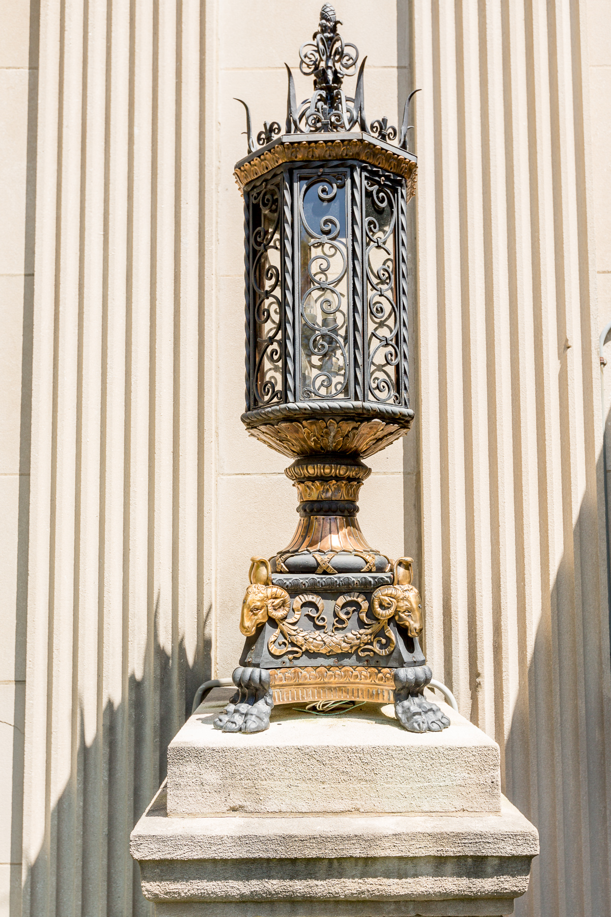 The recently restored outdoor lanterns outside the main entrance of the Belvedere. (Image: Daniel Smyth)